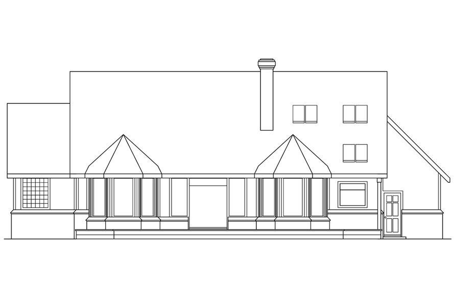 108-1450: Home Plan Rear Elevation
