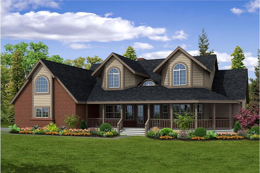 Color rendering of Country home plan (ThePlanCollection: House Plan #108-1450)