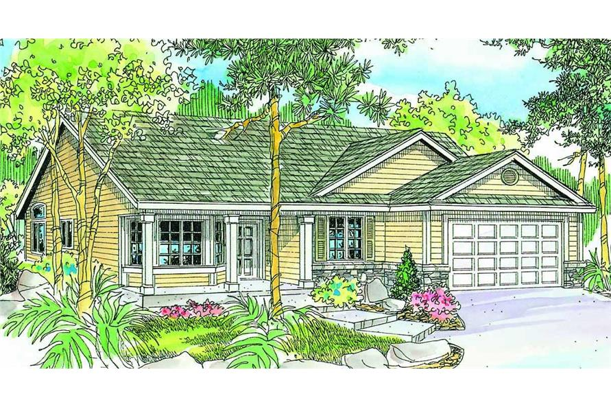 This is a colored rendering for these Country House plans.