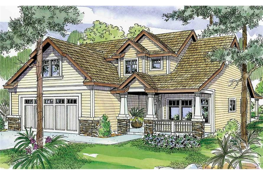 This is a colored image of this set of Country Homeplans.