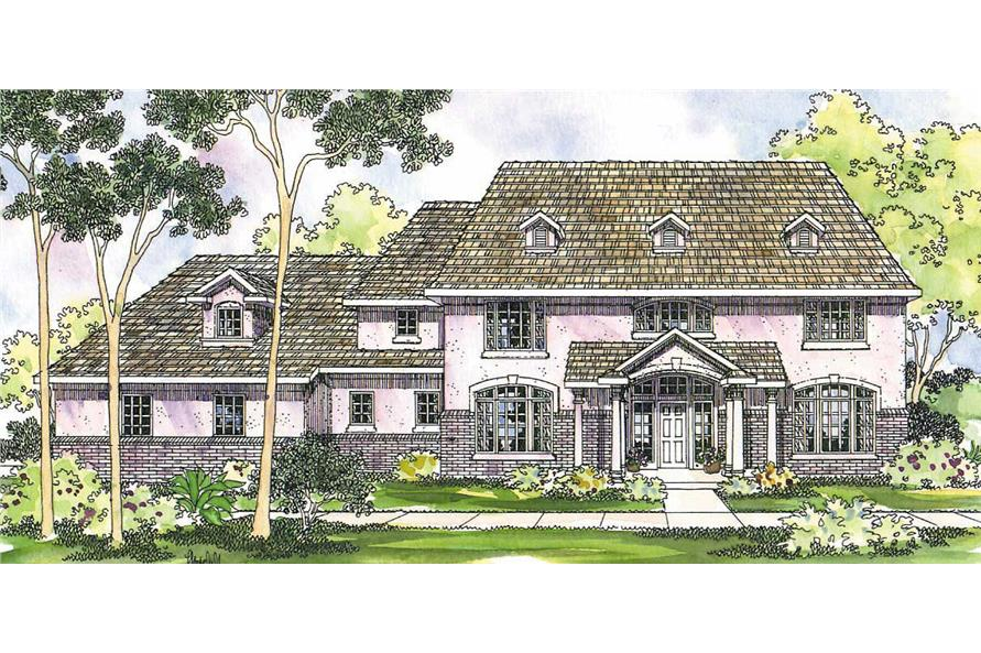 This image shows the Colonial Style of this set of house plans.