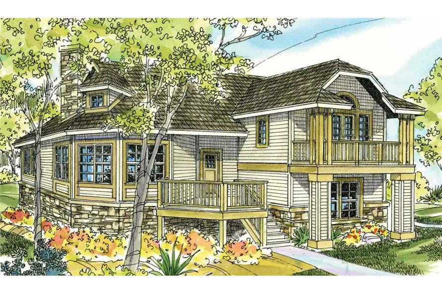 This is an artist's colofully accurate rendering of the front elevation of these magnificent Contemporary Cottage House Plans.