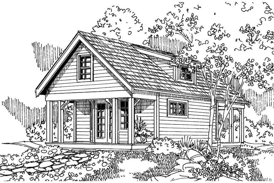 This is an artist's rendering of these Cottage House Plans.