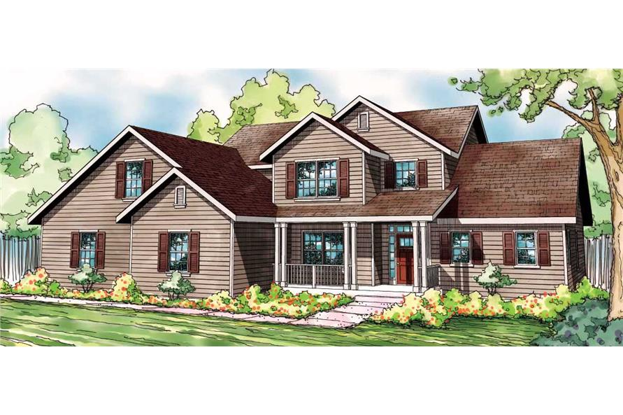 This is the front elevation of these Country House Plans.
