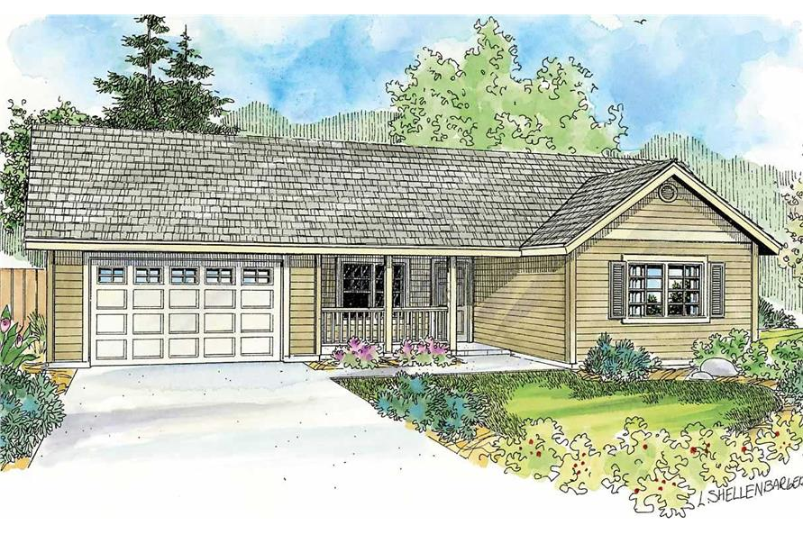 This image is a colored rendering of these Ranch House Plans.