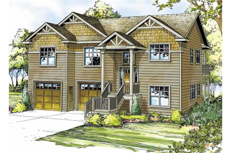 This is the front elevation for these Craftsman Homeplans.