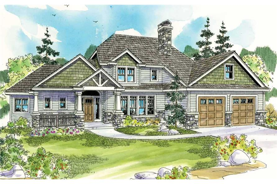 This image shows the front side of these Craftsman Home Plans