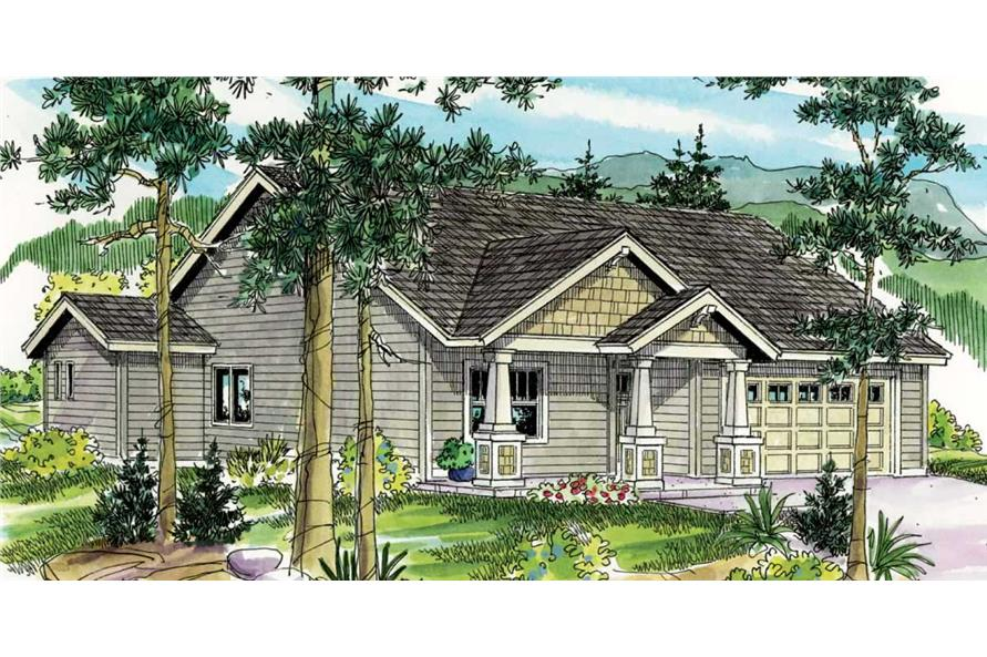This is a colored elevation of these Craftsman House Plans.