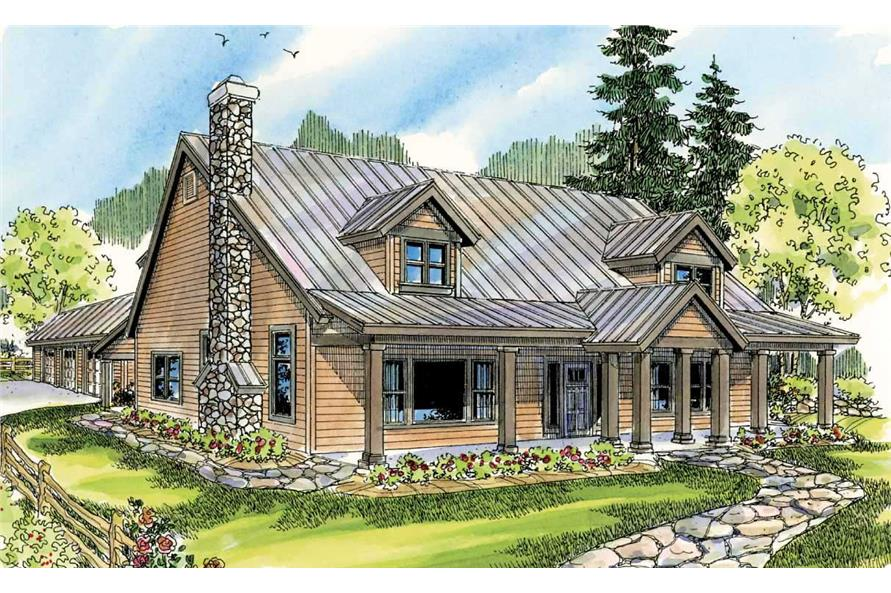 This is a colorful rendering of these Country Houseplans.