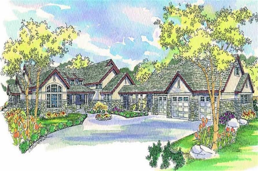 Craftsman home plans color rendering.