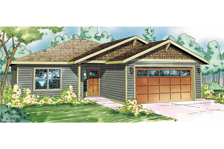 This is a colorfully rendered front elevation for these Craftsman House Plans.