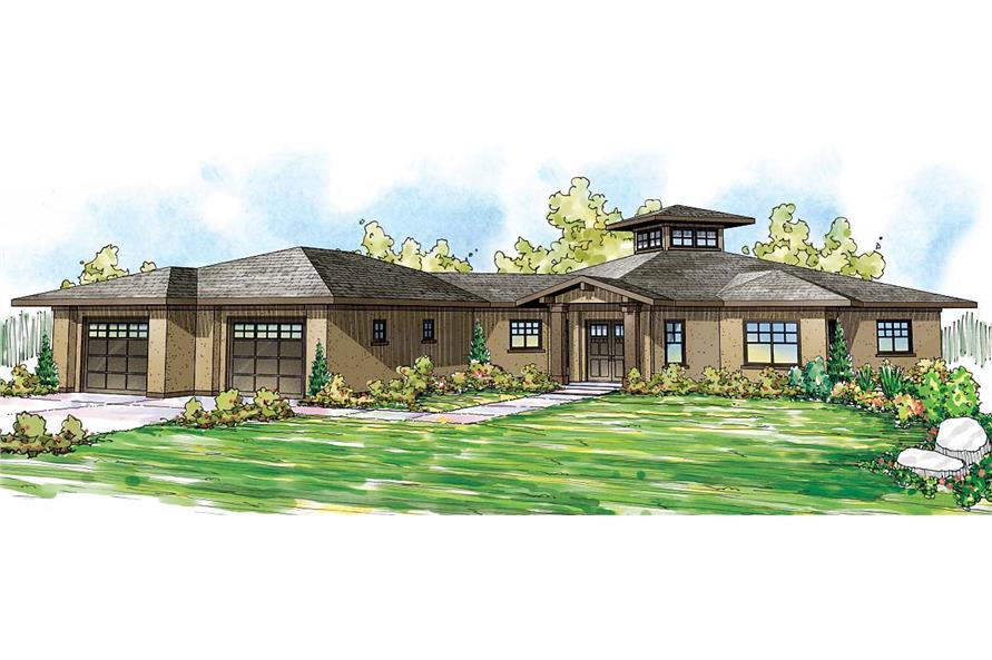 Front elevation of Mediterranean home (ThePlanCollection: House Plan #108-1704)