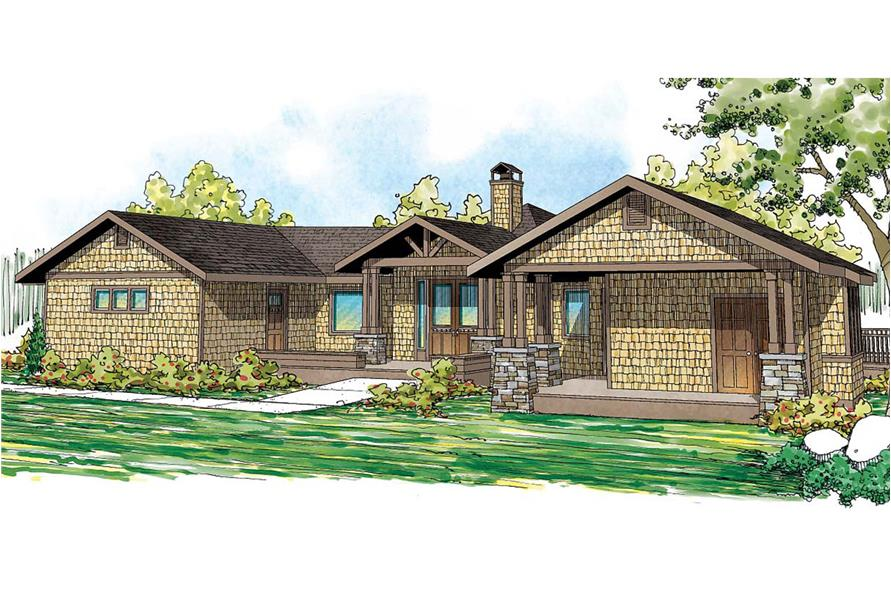 Front elevation of Craftsman home (ThePlanCollection: House Plan #108-1707)