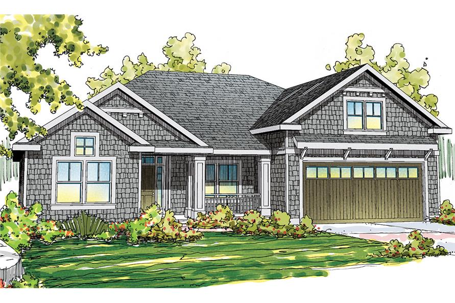 Front elevation of Shingle home (ThePlanCollection: House Plan #108-1715)