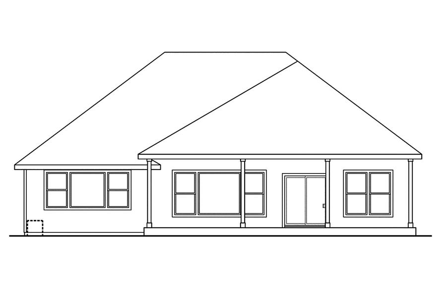 108-1743: Home Plan Rear Elevation