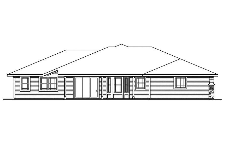 108-1744: Home Plan Rear Elevation