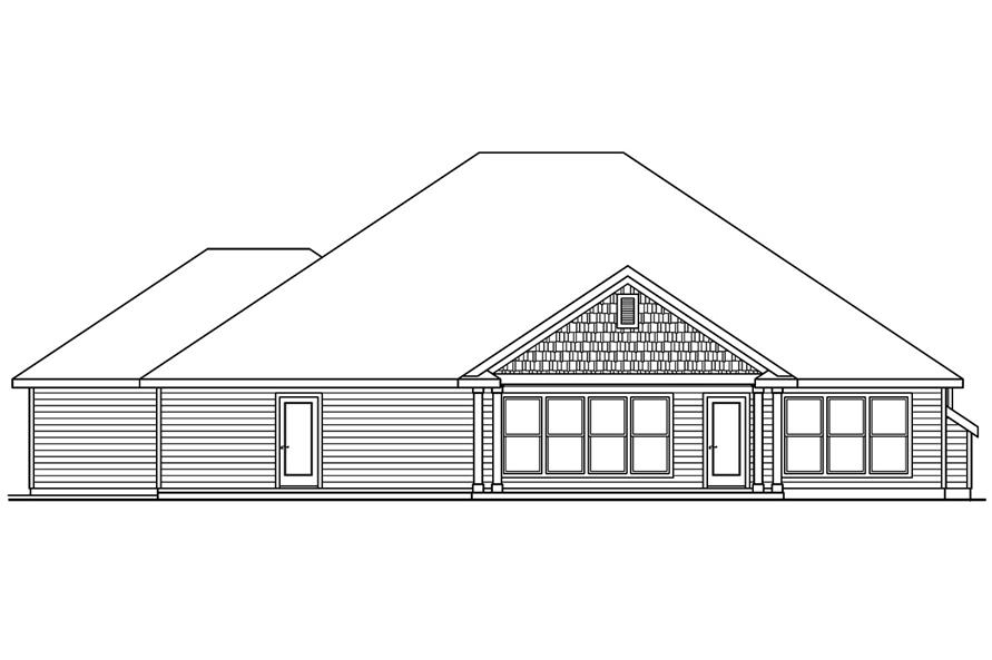 108-1751: Home Plan Rear Elevation