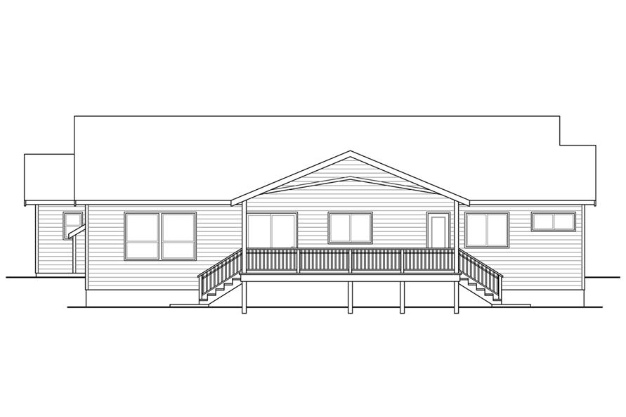 108-1753: Home Plan Rear Elevation