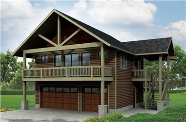 1-Bedroom, 896 Sq Ft Garage w/Apartments Home Plan - 108-1784 - Main Exterior
