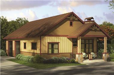 1-Bedroom, 929 Sq Ft Garage w/Apartments Home Plan - 108-1819 - Main Exterior