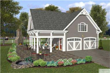 1-Bedroom, 792 Sq Ft Barn-Style Garage with Apartment Plan - 109-1008 - Main Exterior