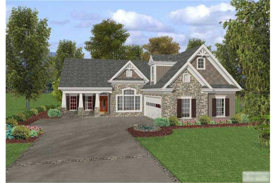 This image shows the front elevation of these Craftsman Homeplans.