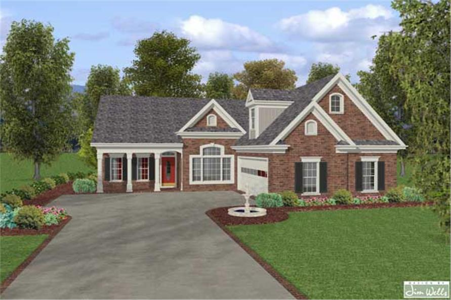 This image is a colorful computer rendering of these Traditional Home Plans.