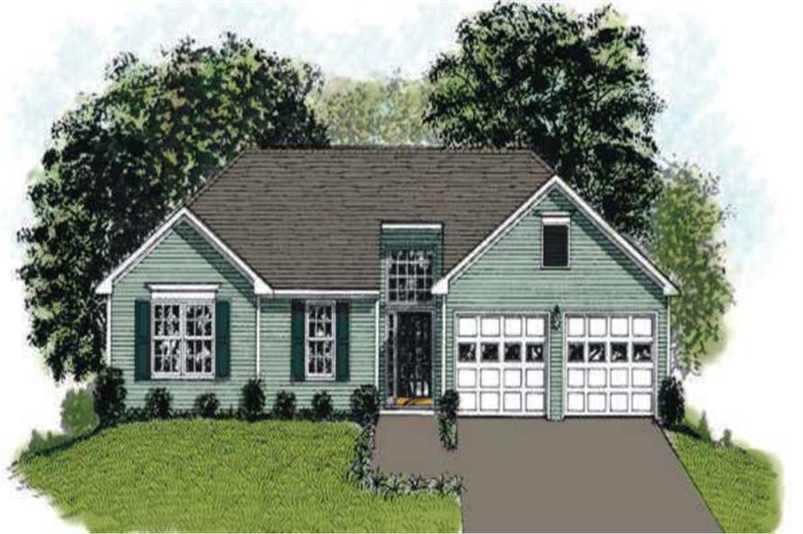 This image is the front elevation of these European Ranch Homeplans.