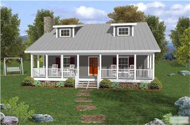 3-Bedroom, 1334 Sq Ft Small Country House Plan - 109-1029 - Front Exterior