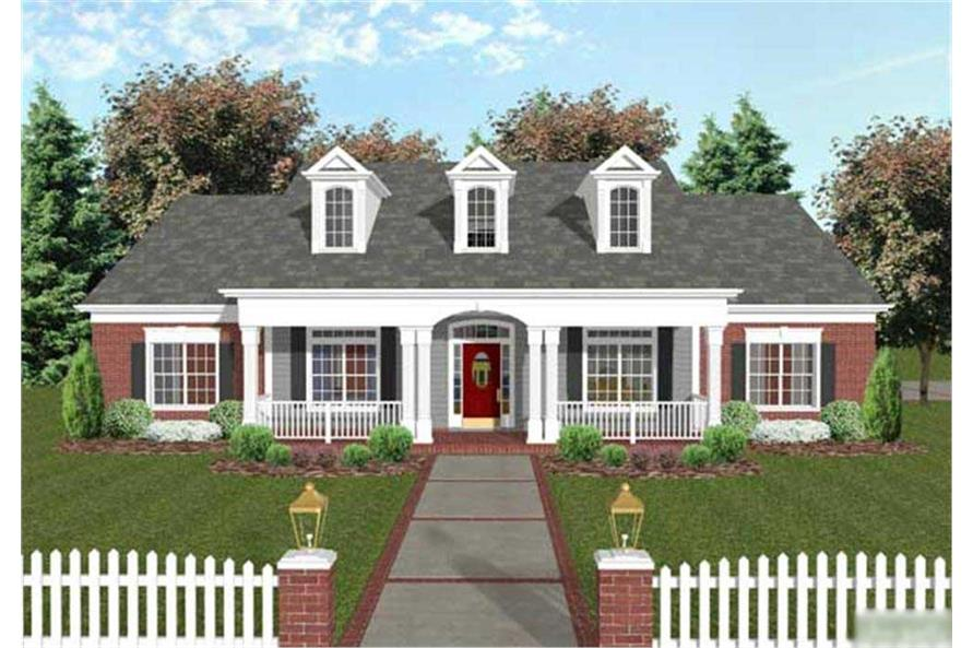 This is a very traditional front rendering of these home plans.