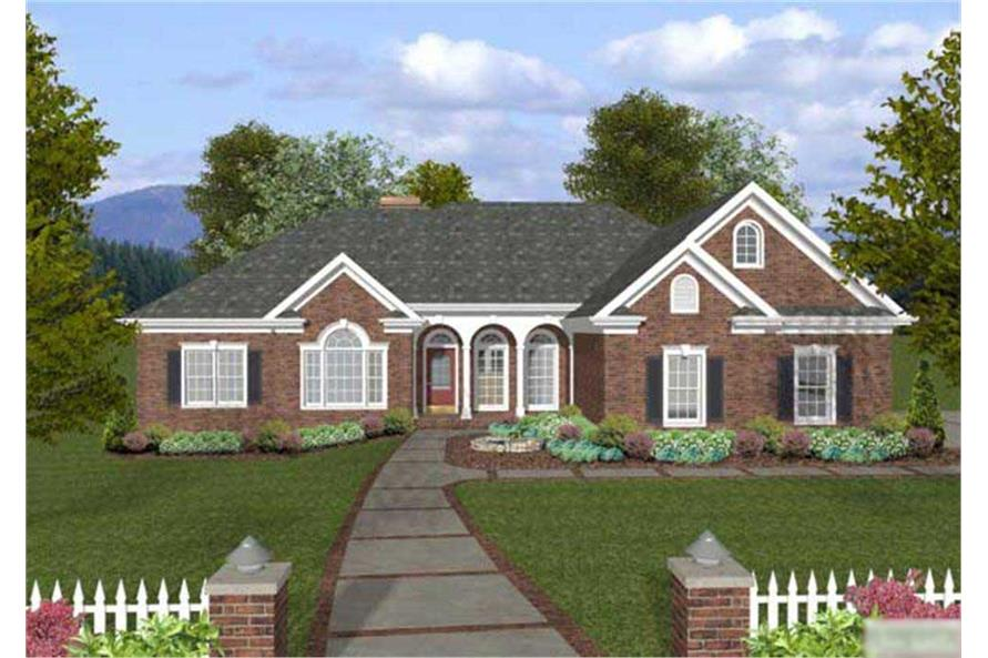 This image shows the front elevation of these Ranch Homeplans.