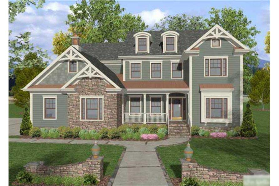 This is a front elevation of these Craftsman House Plans.