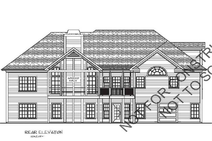 109-1053: Home Plan Rear Elevation