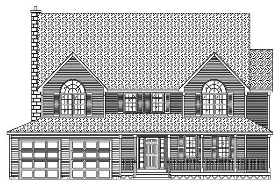 This is a front elevation for these Country House Plans.