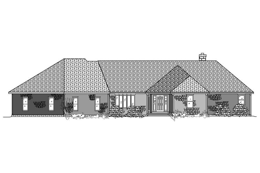 This is the black and white front elevation of these Ranch Homeplans.