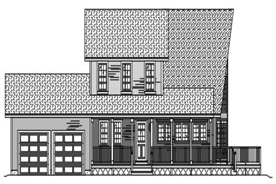 This is a black and white elevation of these Contemporary Farmhouse House Plans.