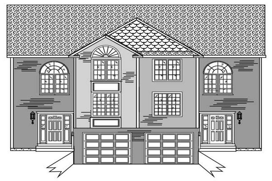 This is a black and white front elevation of these Multi-Unit House Plans.