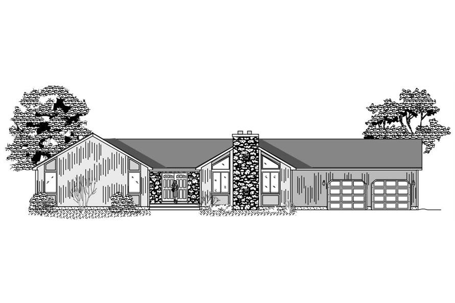 This image shows the front elevation of these Contemporary Ranch Home Plans.