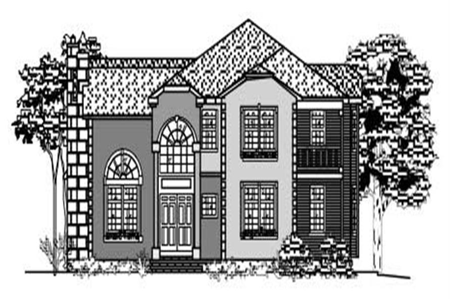 This is a black and white front elevation of these European House Plans.
