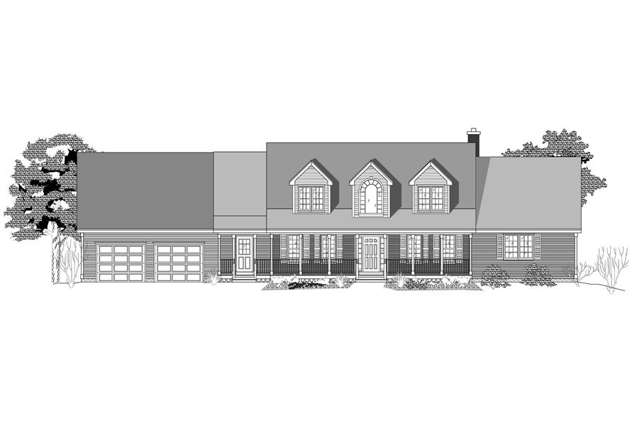 This is a black and white elevation of these Country House Plans.