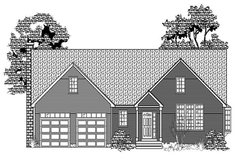 This image is the front elevation of these Ranch House Plans.