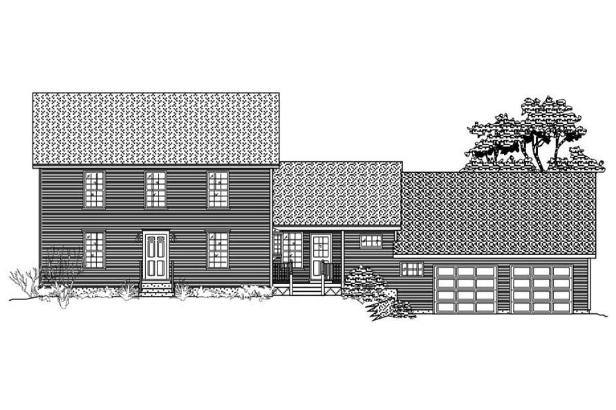 This is the front elevation of these Multi-Level Houseplans.