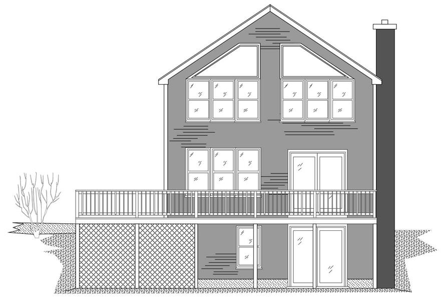 This is the front elevation of these contemporary vacation home plans.