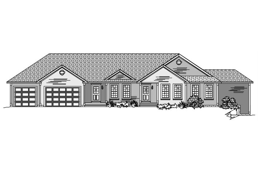 This is the front elevation of these Ranch Houseplans.