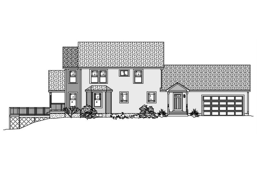 This image shows the front view of these Home Plans.
