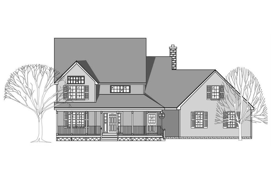 This is the front elevation of these Farmhouse House Plans.
