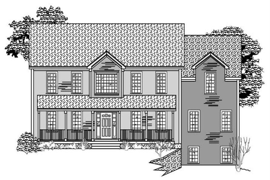 This is a black and white rendering of these Country Homeplans.