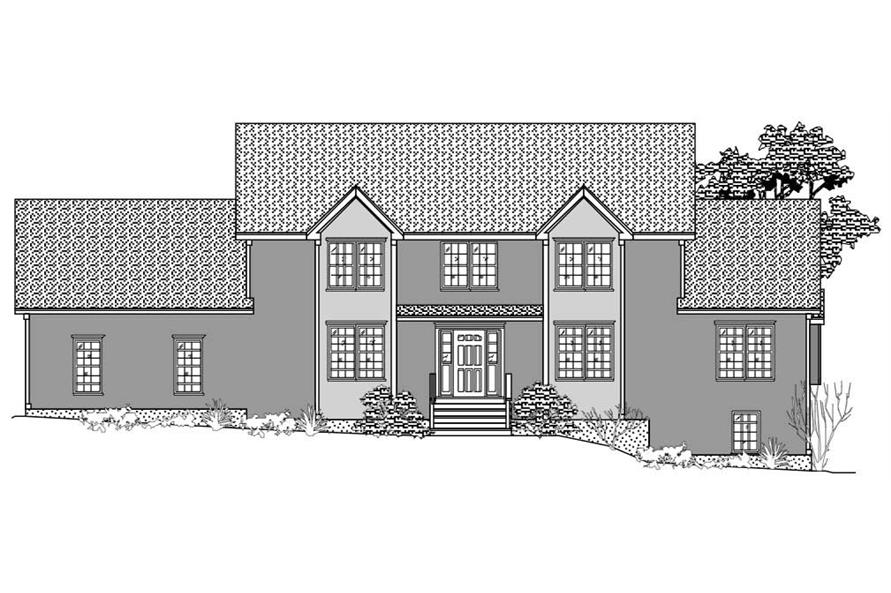This is the black and white front elevation of these Traditional Home Plans.