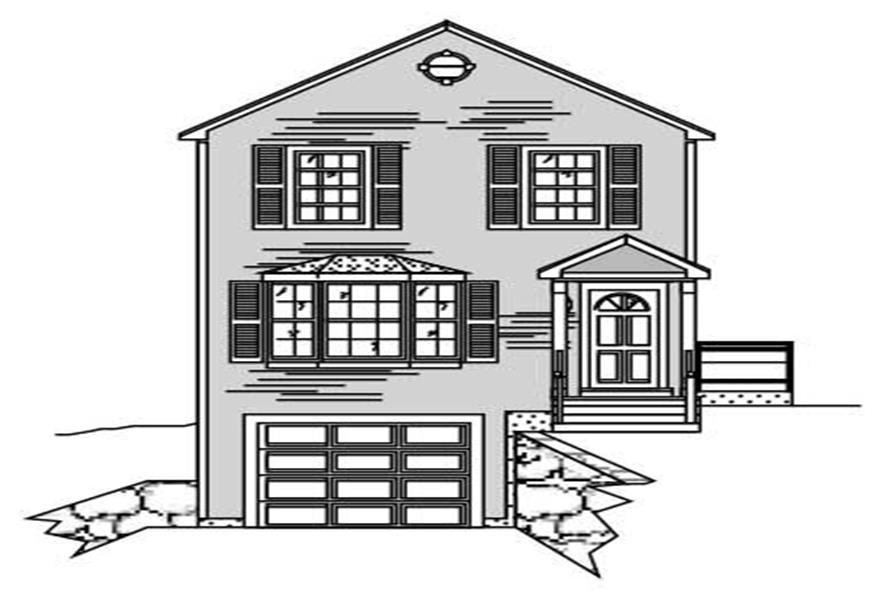 This is a black and white front elevation for these Multi-Unit Homeplans.
