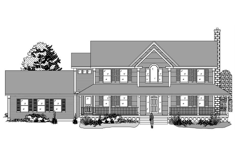 This is a black and white front elevation of these farmhouse home plans.